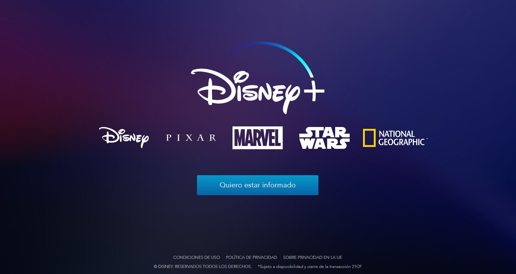 quiero estar informado de disney plus